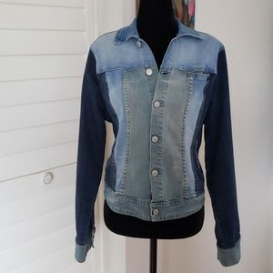Design Lab Patchwork Denim Jacket Size Large